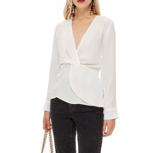 Ivory twist long sleeved blouse